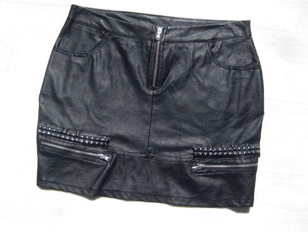 Юбка Amy Gee Италия эко кожаная кожзам чёрная короткая с карманами S M