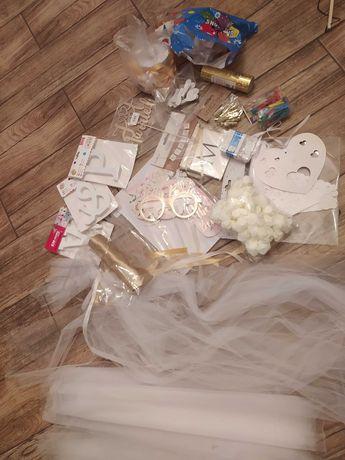 Akcesoria ślubne, wesele, złote białe balony girlanda tiul Topper