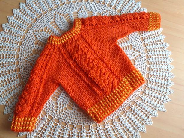 Ciepły sweterek szydełkowy 80-86
