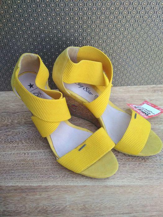 Big star buty żółte na koturnie z gumkami. Korkowa koturna Kraków - image 1