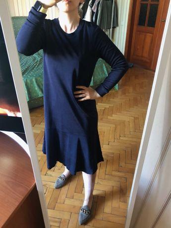 Длинное синее платье cos