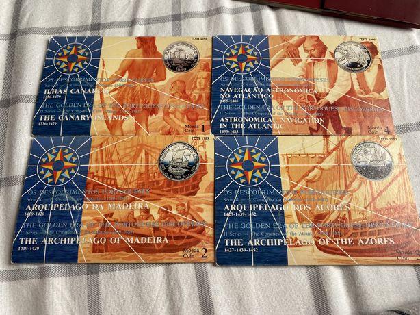 4 moedas de prata 100 escudos incm 1989 descobrimentos portugal