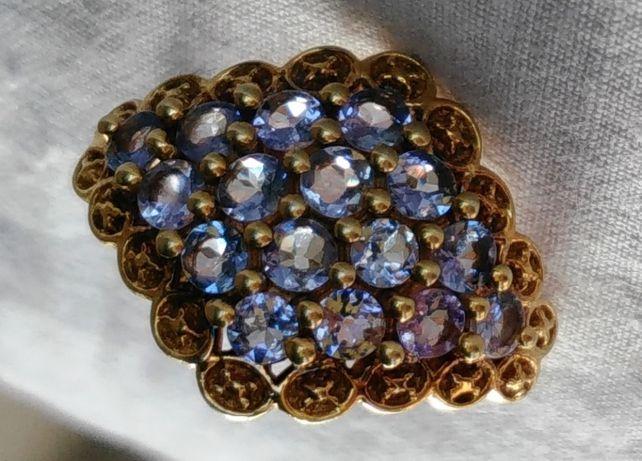 Кольцо с камнями аквамарин Серебро 925 Україна Позолота