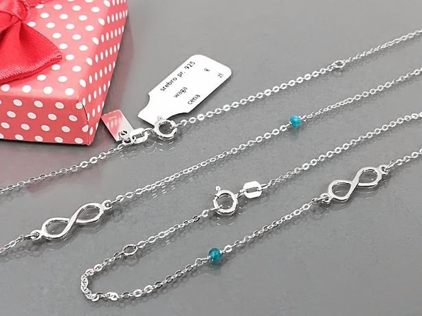 Srebrny łańcuszek + bransoletka, damski komplet + pudełeczko