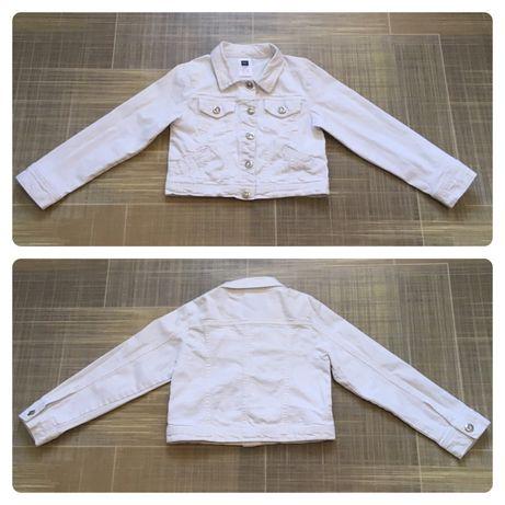 M&co крутая джинсовая куртка для девочки белая болеро.