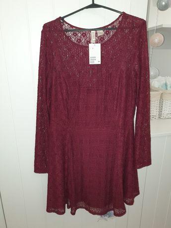 Sukienka koronkowa H&M, NOWA bordowa