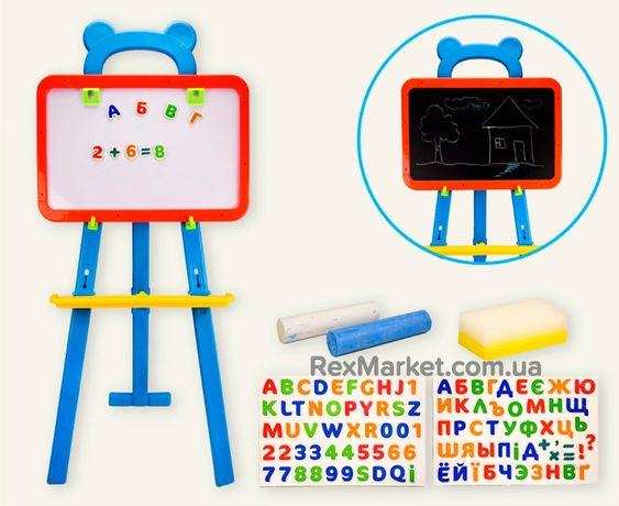 Детский мольберт, 5 в 1 Доска знаний+ магнитно-маркерная меловая доска