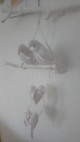 Ptaszki na gałęzi, ozdoba wisząca, ozdoba ślubna, hand made
