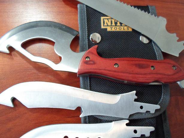 Komplet noży biwak survival bushcraft tasak piła multinarzędzie