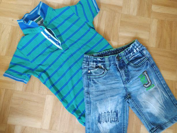 Комплект джинсовые шорты и футболка поло