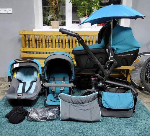 Jane Rider коляска 3в1 с автокреслом, + зонтик и чехол, бирюзовая