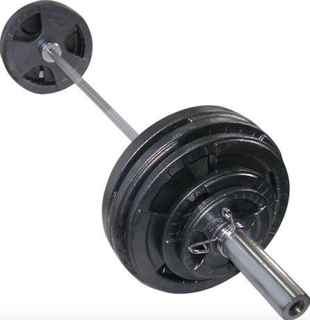 Штанга олимпийская 200 кг. Гриф олимпийский блины стальные с хватом.