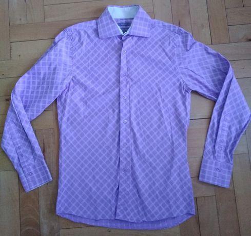 Koszula męska rozmiar S fioletowa krata.