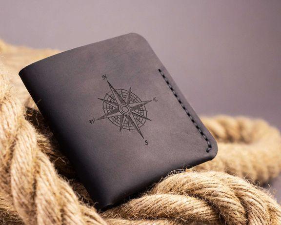 Тонкий кожаный мужской кошелёк Triplet (портмоне из натуральной кожи)