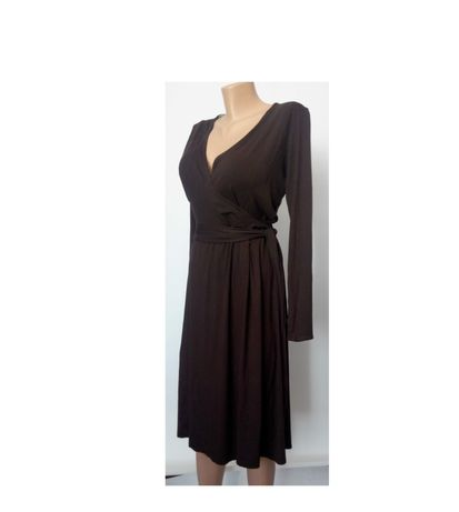 Осеннее платье 48 50 размер миди коричневое офисное натуральная ткань