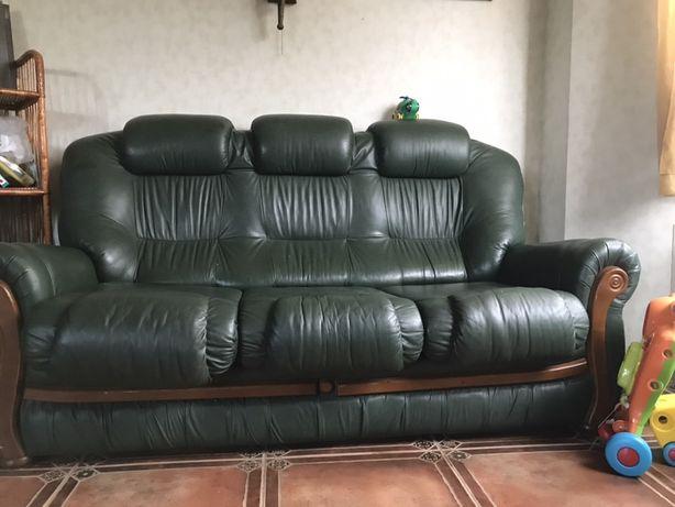 кожаный диван с креслами