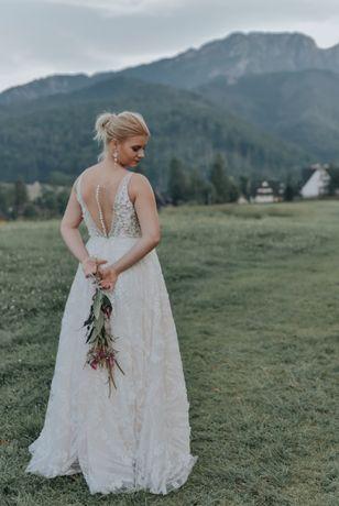 suknia ślubna ida torez rambla 3D kwiaty guziczki