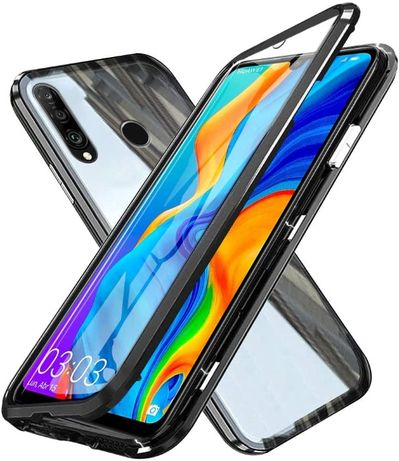 Etui 3w1 Magnetic GLASS 360° - Aluminium + Szkło do Huawei P30 Lite
