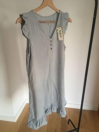 Szara letnia sukienka dekolt XS