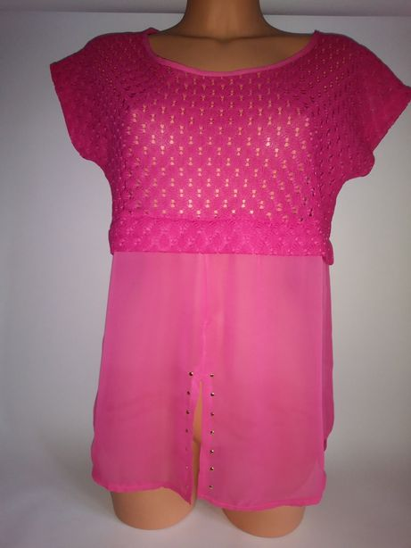 Różowa koronkowa bluzka 40roz