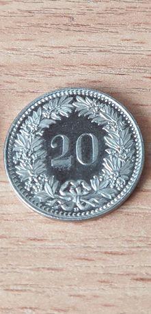 Монета швейцарская 20 раппен 2014г