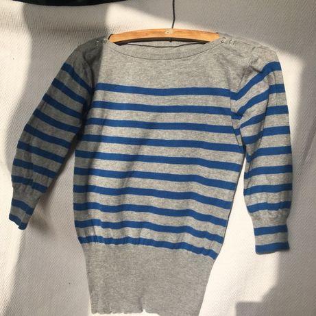 Szary cieńszy sweterek w niebieskie paski Rozmiar S
