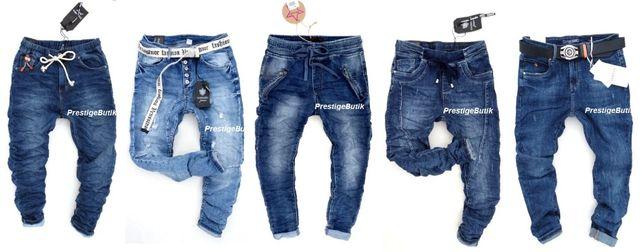 Włoskie spodnie boyfriend dresowe jeansy baggy jeansowe dresy S M L XL