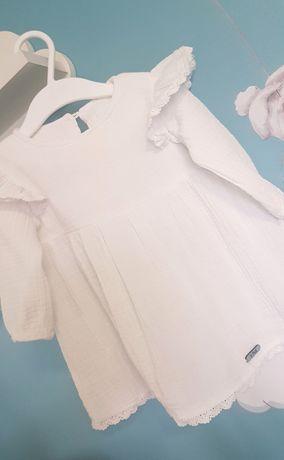 Biała muślinowa sukienka Hand Made r.74 zestaw roczek chrzest wesele