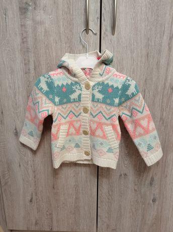 Sweterek sweter dziewczęcy z kapturem na guziki H&M 80