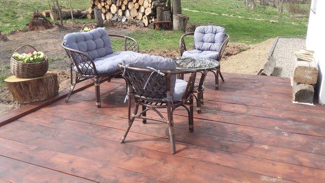 Meble ogrodowe Komplet rattan stolik ławka fotele poduszki