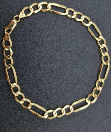 Złota bransoletka FIGARO P585 4.95g 22cm LOM95