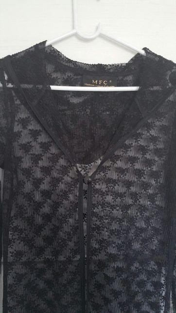 Koronkowy płaszcz z kapturem Madonna narzutka MFC czarny S M 36 38