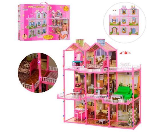 МЕГА ХИТ! Домик для кукол типа Барби 3 этажа 8 комнат Свет Мебель 6992