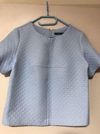 Bluzka błękitna Mohito 36 S sztywna krótki rękaw niebieska