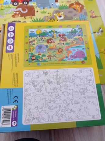 Maxi puzzle duże z kolorowanka safarii