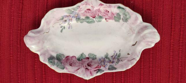 Pequena travessa em porcelana, marca Limoges, decoração, pintada à mão