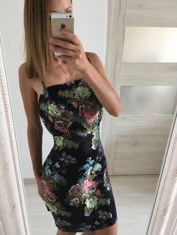 nowa mała czarna satynowa sukienka na ramiączkach 36S orientalna kwiat