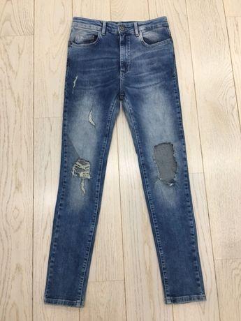 Spodnie rurki wysoki stan pull&bear high waist z dziurami