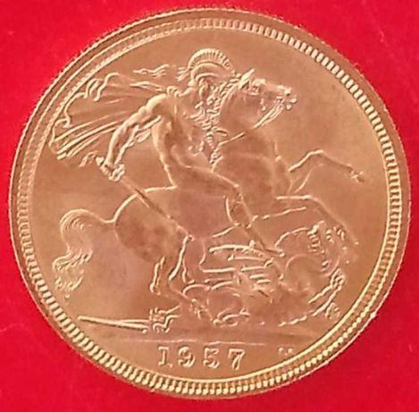Moeda Ouro Libra 1957 Elizabeth II Estado Nova