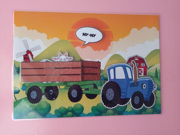 Игра на липучках Синий трактор