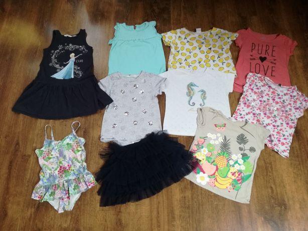 Zestaw letni 10 szt H&M bluzki, sukienka, strój roz. 122/128