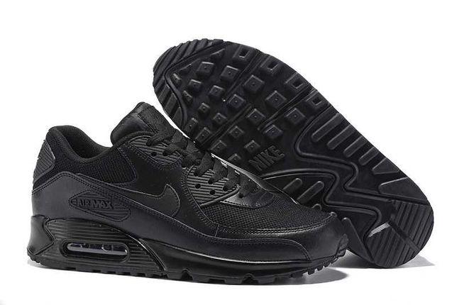 (614) Кроссовки Nike Air Max 90 (41,43,44,46) - Черные, Вьетнам, кожа