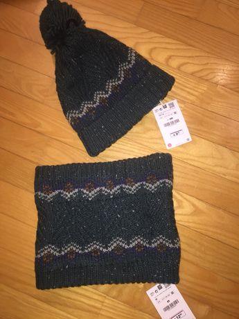 Набор шапка и хомут вязаные Zara.Зима.