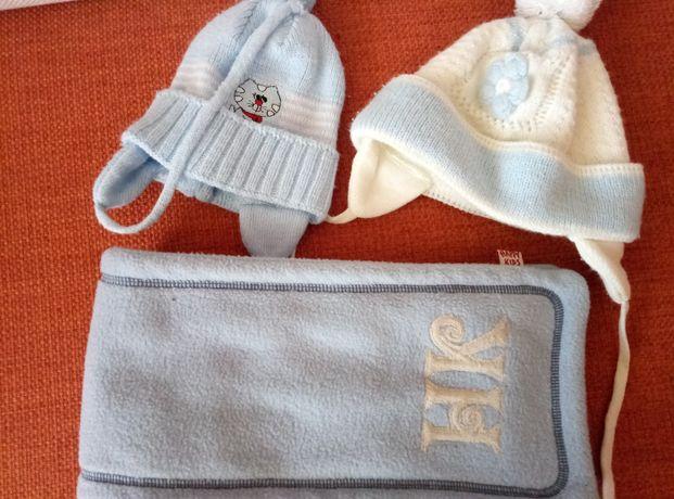 детский голубой набор шарф happy kids и шапка 2 шт, шарфик комплект