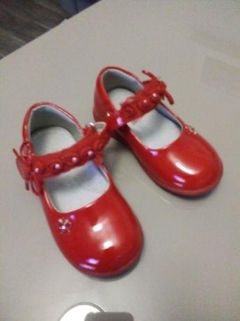 Buciki półbuty balerinki 24 czerwone
