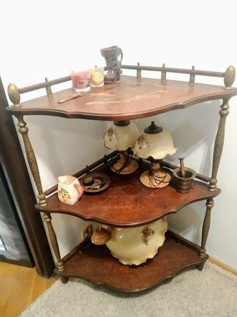 Półka, szafka stylowa narożna witryna, vintage, stolik retro, kwietnik