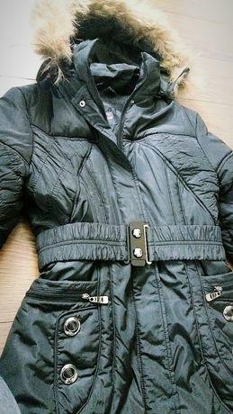 Zimowy czarny płaszcz płaszczyk długa kurtka damska