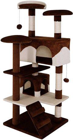 Árvore/Arranhador para Gatos Castanho/Beje 1,30M Altura (NOVO)