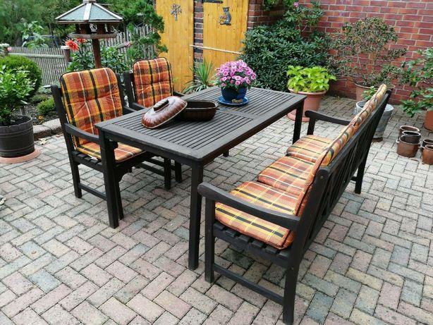 meble ogrodowe drewno 5 osób sofa fotele stół