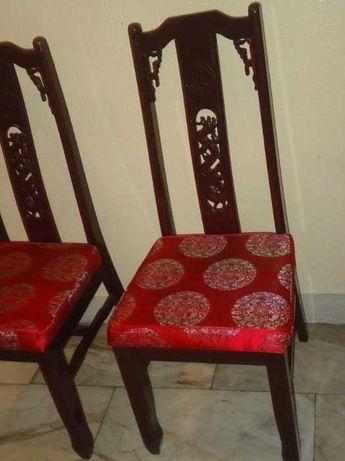 Cadeiras chinesas, como novas, em madeira maciça